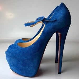 Louboutin Blue Suede Lady Daf Platform Heels 37.5